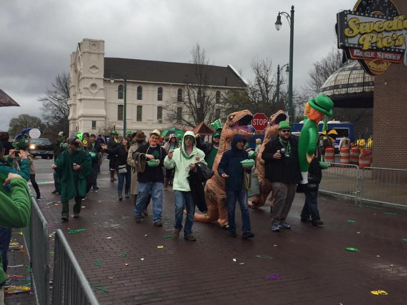 The Memphis St. Patrick's Parade featured leprechauns and dinosaurs.